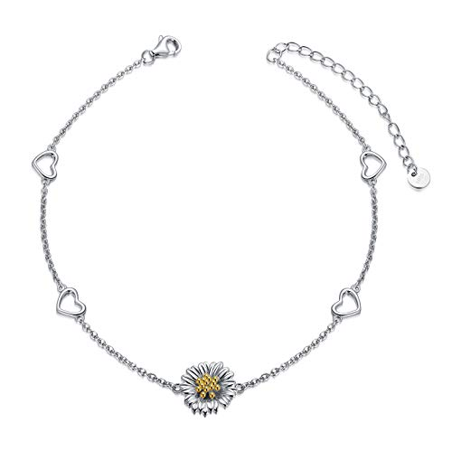 LONAGO 925 Sterling Silver Sunflower Anklet You Are My Sunshine Sunflower Daisy Anklet Jewelry for Women