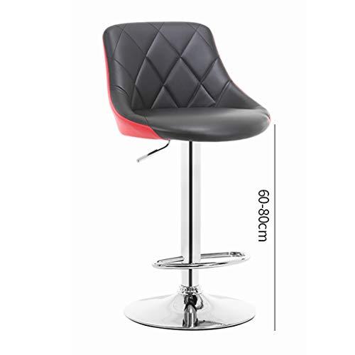 Creator-Z Barhocker Barstuhl Kunstleder Tresenhocker Bar Sessel gut gepolstert höhenverstellbar 86-106CM mit Lehne,Red Black
