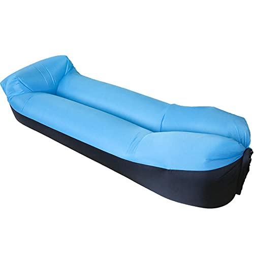 KLJLFJK, Aufblasbares Sofa,Wasserdichter und auslaufsicherer aufblasbarer Sessel,2021 verbesserter aufblasbarer Stuhl,EIN aufblasbares Bett, geeignet für Camping & Strand-himmelblau