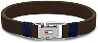 Tommy Hilfiger Men'S Silver & Brown & Navy Stainless Steel & Brown Leather & Navy Cord Wrap Bracelets -2790227S