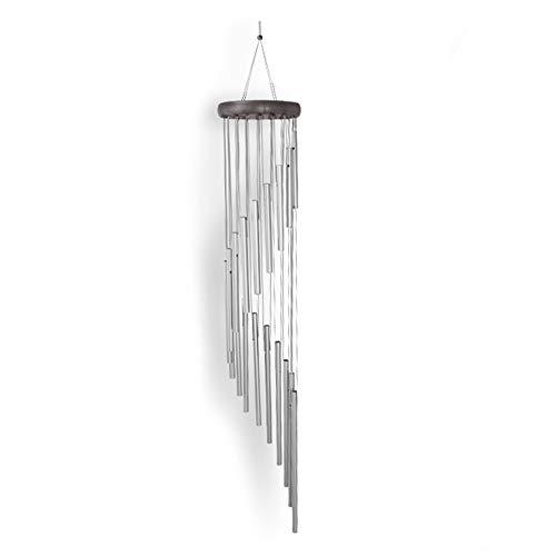 MOSINITTY Windspiele Holz 8 Aluminiumrohre Spirale 35-Zoll-Melodien Windspiele für Home Restaurant Schlafzimmer Hinterhof Silber