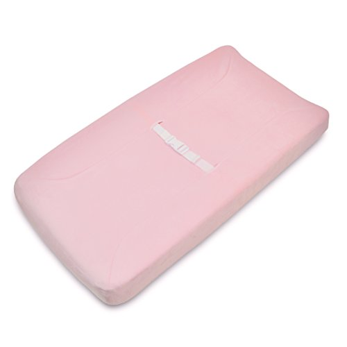 American Baby Company Heavenly Soft Chenille Fitted Contoured Changing Pad Cover, Pink, for Girls