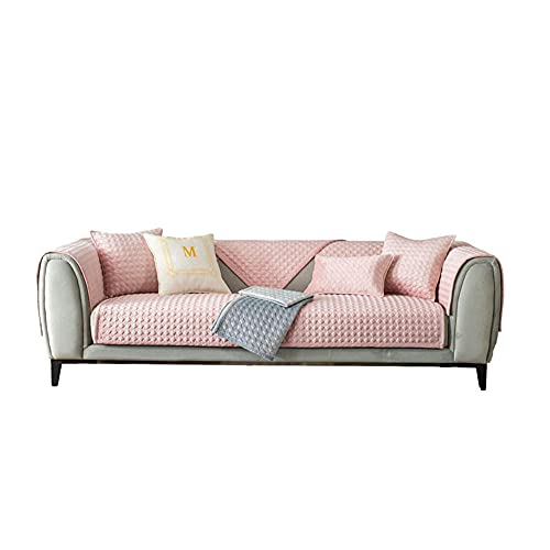 CC.Stars Anti-Slip Couch Cover, Quilted Sectional Sofa Covers Jacquard Chaise Lounge Set for Suitable for Living Room, Bedroom, Study Room, Outdoor-Pink_35 * 35in