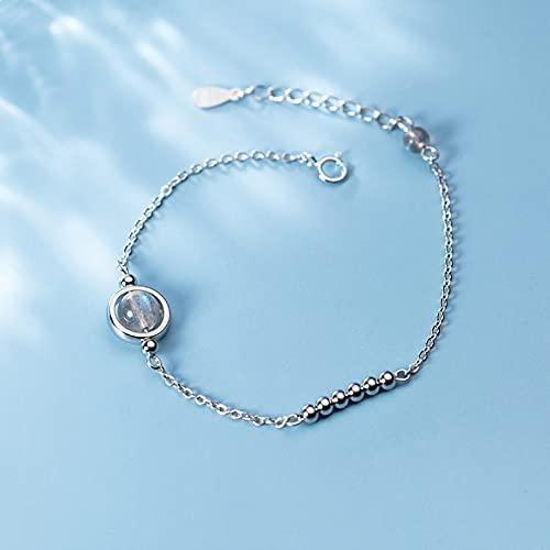 N/A s925 Pulsera de Plata para Mujer, pequeñas Cuentas Frescas y Sencillas, joyería de Mano de Piedra Lunar dulceAniversario Día de la Boda Navidad Día de la Madre Regalo de cumpleaños.