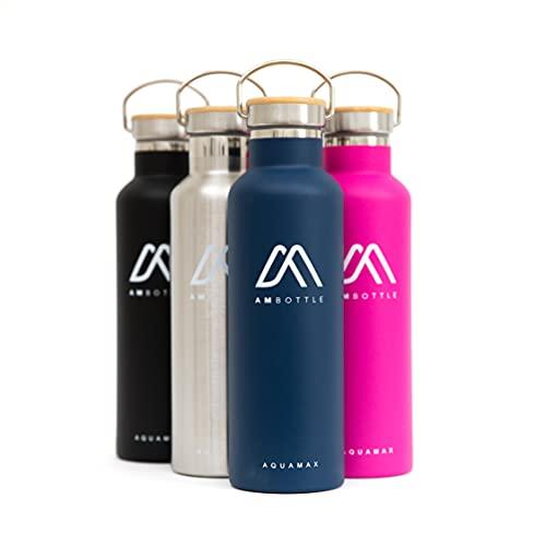 AMBottle - Borraccia Termica 750 ml, Bottiglia Termica, Bottiglia Acqua, Borracce Termiche, Borraccia Acqua, Borraccia Acciaio Inox Metallo per Scuola, Ufficio, Trekking, Ecologiche e BPA Free - Aqua