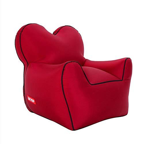 Lazy aufblasbares Sofa Nylon reißfestes Material tragbares Luftbett im Freien-rot_L.
