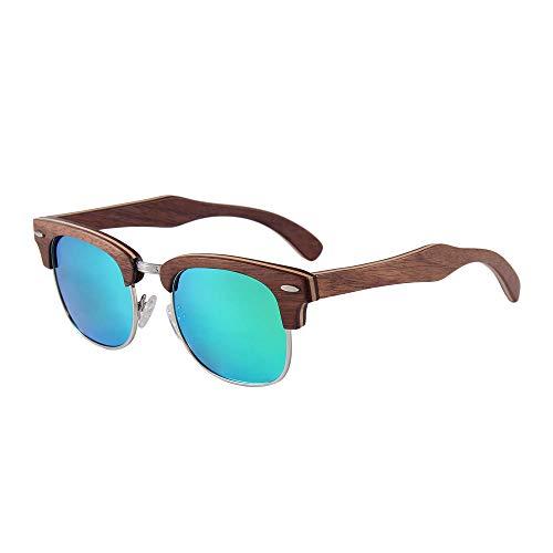 GY-HHHH Gafas de sol de medio marco con montura de madera - Gafas de sol polarizadas esenciales para la playa - Ojo protector UV400 - Azul de alta calidad 2