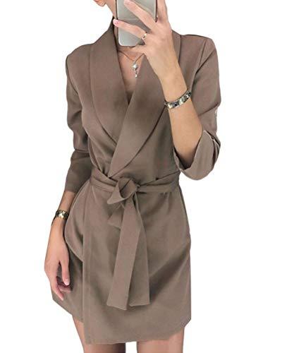 Minetom Damen Blazer Kleid Frauen Elegant Langarm V-Ausschnitt Hemdkleid Business Lange Büro Jacken Anzug Einfarbig Streifen Mini Kleid mit Gürtel A Khaki 44