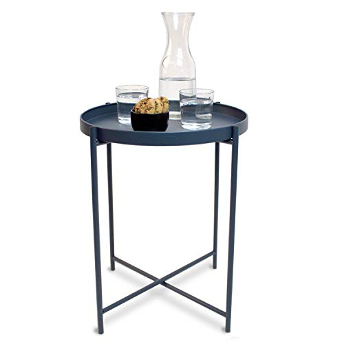 Rond dienblad Ø38 cm H 50 cm metalen frame blauwgrijs - dienblad bijzettafel salontafel woonkamertafel koffietafel