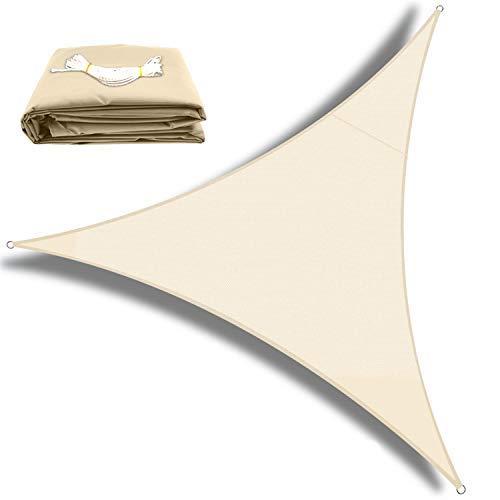 OKAWADACH Toldo Vela de Sombra Triangular 3 x 3 x 3m, Vela de Sombra Protección UV para Patio, Exteriores, Jardín, Blanco Crema