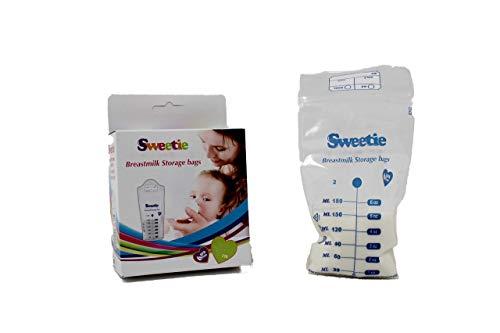 Sweetie - Bolsas de almacenamiento para leche materna, 50 unidades, 2 cajas de 25 unidades