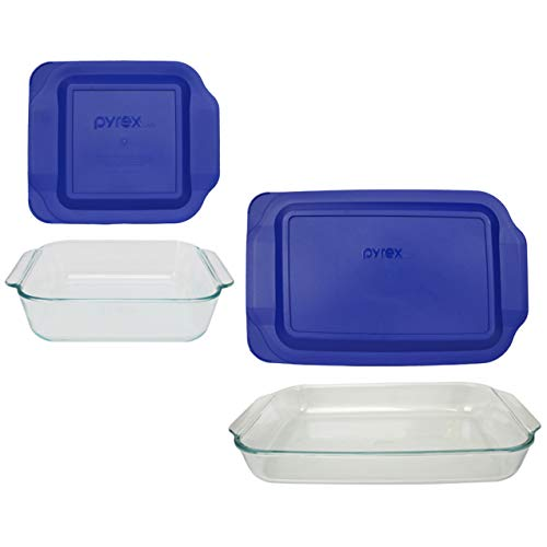 Pyrex Basics Clear Glass Baking Dishes, 1 (3 Quart) Oblong Dish and 1 (2 Quart) Square Dish with Blue Plastic Lids
