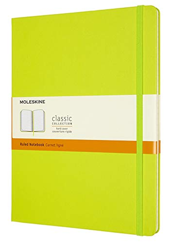 """Moleskine Classic Notebook, Hard Cover, XL (7.5"""" x 9.5"""") Ruled/Lined, Lemon Green, 192 Pages"""