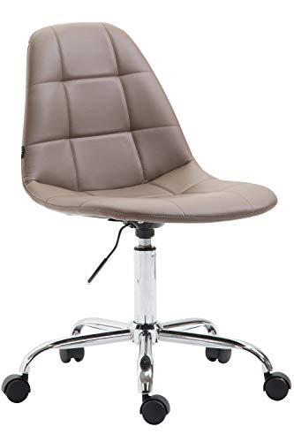 CLP Bürostuhl Reims Mit Kunstlederbezug I Schreibtischstuhl Mit Laufrollen Und Gestepptem Sitz I Höhenverstellbarer Drehstuhl, Farbe:braun