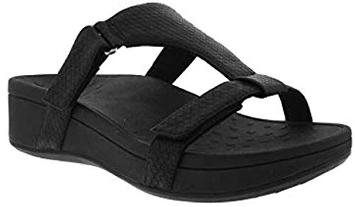 Vionic Women's Pacific Ellie Wedge Sandals – Ladies Walking Sandal with Concealed Orthotic Arch Support Black