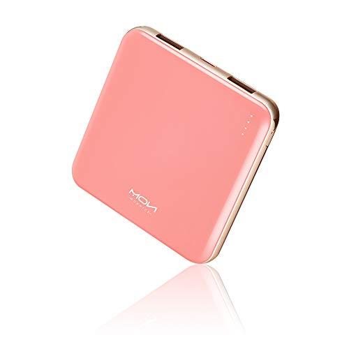 MOXNICE Bateria Externa Powerbank 10000mAh, El más Pequeño y Ligero Power Bank con 2 Salidas USB & Pantalla LCD para iPhone iPad Samsung Huawei Xiaomi (Rosa)