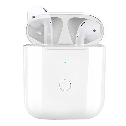 Wireless Charging Case Replacement Compatible with for AirPod 1 2 with Bluetooth Pairing Sync Button , White
