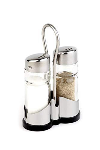 """APS Pfeffer- und Salzmenage """"Economic"""", 2-teilig mit Edelstahl-Behälter Pfeffer-und Salzstreuer, transparenter Glasbehälter mit Edelstahl-Deckel und Drehverschluss, 8 x 4 cm, 13 cm Höhe"""