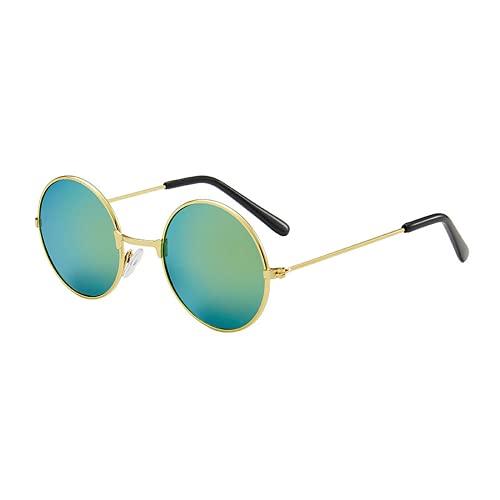 BESTDELI Child Retro Redondo Marco Redondo Gafas de Sol Color Película Reflectante Gafas Circulares Tide Gafas de Sol para Hombres y Mujeres