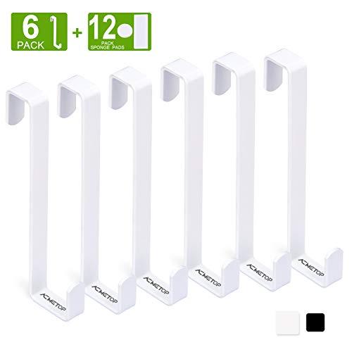 ACMETOP 6 Stück Türhaken, Umschaltbare Kleiderhaken Tür, Tür Haken Mit Schaumstoff Schutz, Robuster Metall-Türgarderobe für Türbreiten 2cm und 1.2cm (Weiß)