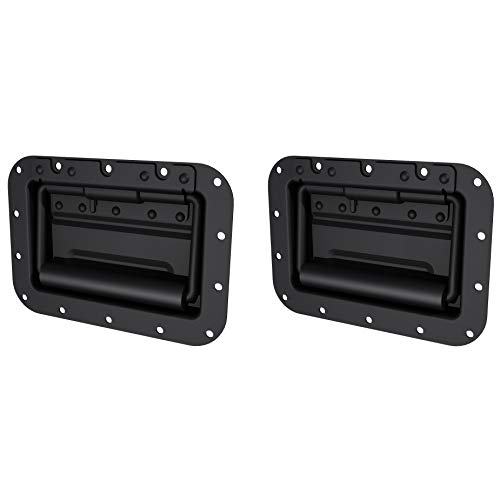 TCH Hardware 2 Pack Large Spring Loaded Steel Recessed Handle Black with Padded Grip - Case Chest Box Cabinet Speaker