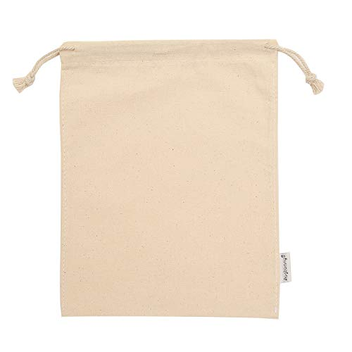 Augbunny 100% Cotton 8- by 10-Inch Muslin Bags with Drawstring, 12-Pack