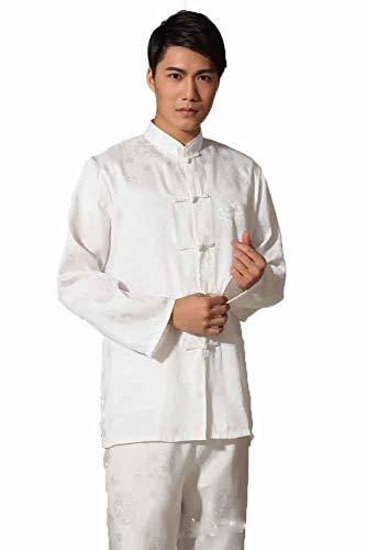 llh Tai Chi Anzug Qi Gong Wing Chun Anzug Männer Langärmelige Kampfsport Kleidung Chinesische Traditionelle Kampfkunst Uniform Natürliche Baumwolle,White-XXL