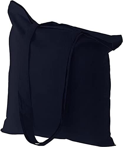 Sadiz (Juego de 5)-Bolsas de lona reutilizables - Bolsa de tela de algodón de diseño de colores surtidos para decoración artesanal - Tamaño 38cmX42cm / Asa 70cm (Navy)