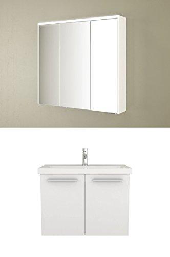 Wastafelonderkast Acura - onderkast 80 cm breed badmeubel badkamermeubel wastafel onderkast badmeubel set met spiegelkast wit