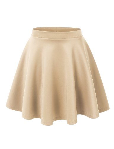 MBJ WB211 Womens Basic Versatile Stretchy Flared Skater Skirt S Khaki