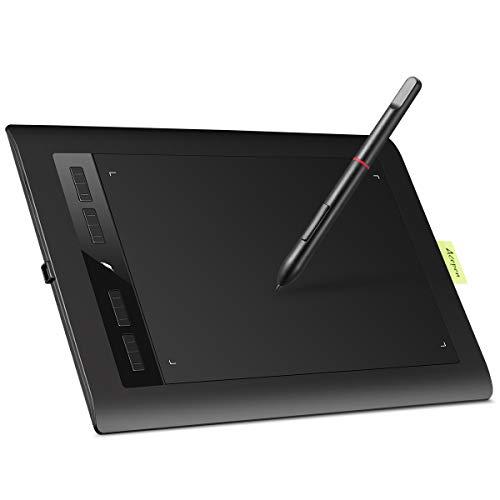 Acepen Tavoletta Grafica Tablet, Tavoletta Grafica Portatile con Penna Passiva da 8192 Livelli e Tablet 5080 LPI per Mano Sinistra/Destra, Gesto Intelligente con 4 Tasti a Sfioramento