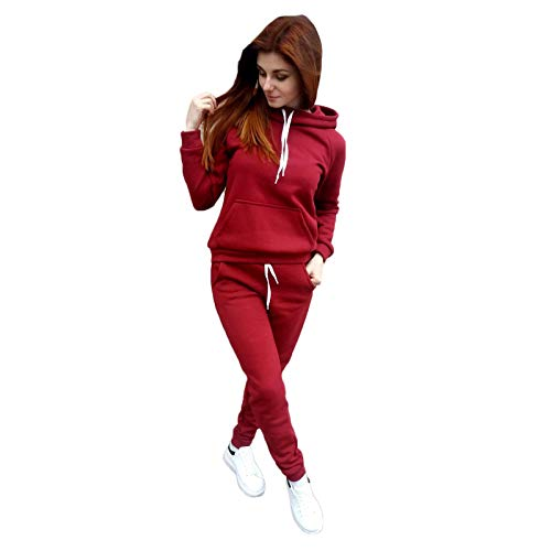 Hemlock Women 2 Piece Outfit Set Solid Color Tracksuit Fall Winter Sweatsuit Women Tops Hood Pullover Long Pants Lounge Wear Red