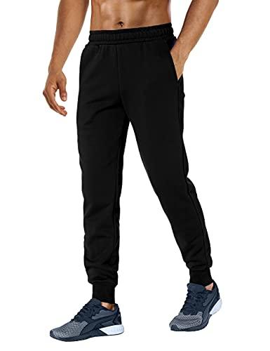 Herren Jogginghose Loose Fit Sporthose Jogginghose mit Taschen Lässige Loungehose für Trekking Workout Laufen Schwarz M