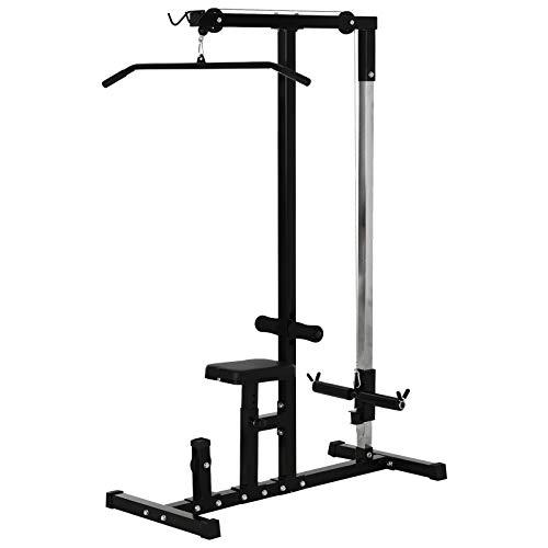 Homcom Station de Musculation pour tirage Poitrine - LAT pulldown Machine - Banc de Musculation dim. 103L x 120I x 180H cm Acier Noir