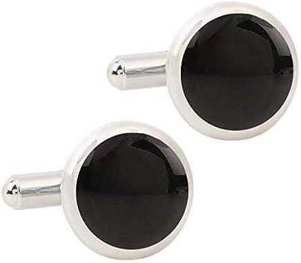 Meenaz Round Black Silver Shirts Blazer Cufflink Set For Men And Boys, Cufflink-90114