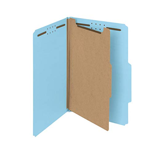 """Smead 100% Recycled Pressboard Classification File Folder, 1 Divider, 2"""" Expansion, Legal Size, Blue, 10 per Box (18721)"""