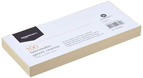 AmazonBasics – Trennstreifen, aus recyceltem Manilapapier, vollfarbig, gelocht, 10,5 x 24cm, 160g/m², 100Stück, Chamois