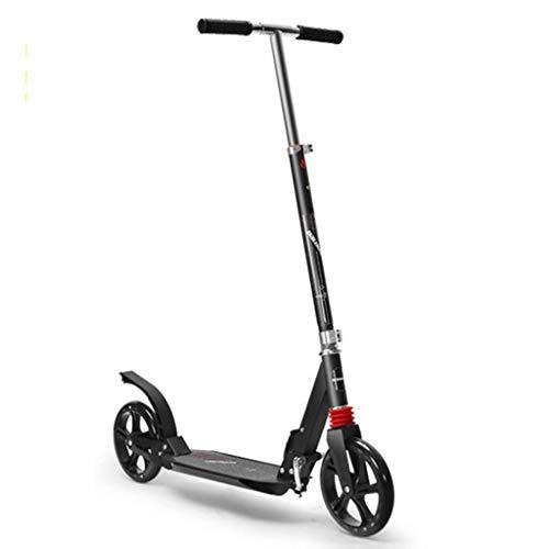 YLJJ Heights Scooter Plegable Ajustable, Patinete con Ruedas Grandes de Poliuretano y Correa de Transporte, Patinete de 2 Ruedas para Adolescentes y Adultos, Freno único, Color Negro