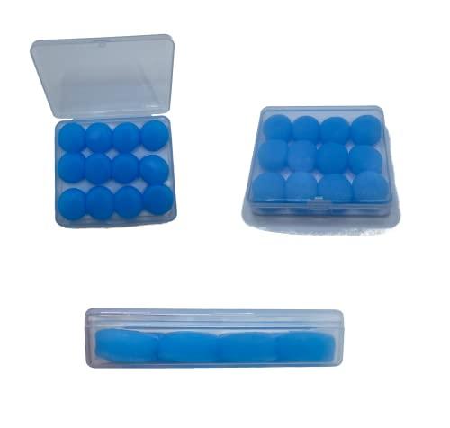 12 Tapones de Oídos para dormir - Protección Auditiva Silicona Moldeables Reutilizables - Cancelación de Ruido para Dormir, Viajar, Trabajar, Estudiar - Azul