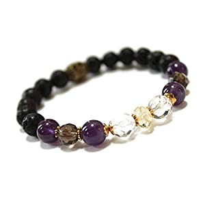 Aromatherapy Gemstone Bracelet/Oil Diffuser Lava Rock for Positive Energy | Amethyst, Citrine, Smokey Quartz