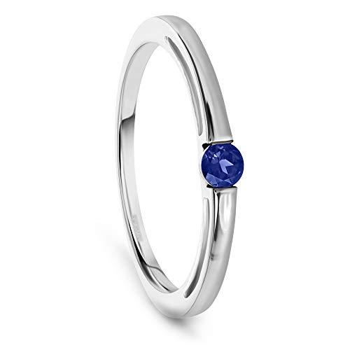 Miore Schmuck Damen Verlobungsring mit Edelstein/Geburtsstein Saphin in blau Ring aus Weißgold 9 Karat/ 375 Gold