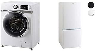 【セット販売】アイリスオーヤマ ドラム式洗濯機 7.5kg 温水洗浄機能付き 左開き 幅595mm 奥行672mm 2019年モデル HD71 & 冷蔵庫 156L 2ドア右開き ホワイト AF156-WE セット
