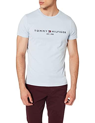 Tommy Hilfiger Organic Cotton Logo T-Shirt Camiseta, Azul Breezy, XS para Hombre