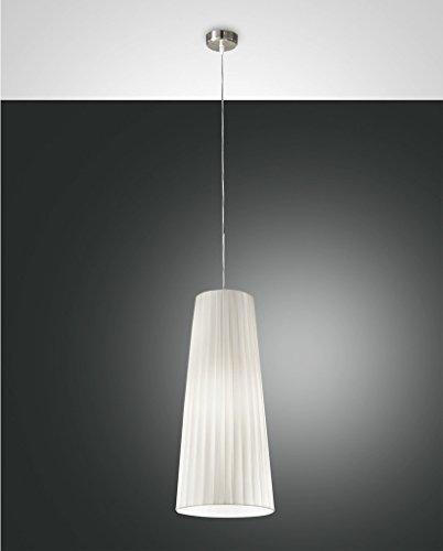 Fabas Luce Dorotea Pendelleuchte, E27, Ø 20cm, Plissee weiß