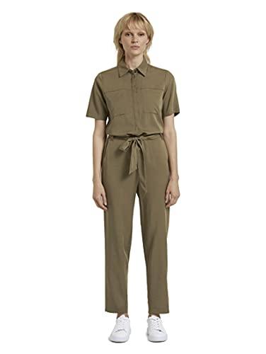 TOM TAILOR mine to five Damen Overalls & Jumpsuits Utility Jumpsuit mit Bindegürtel Military Olive Green,34,10351,7000