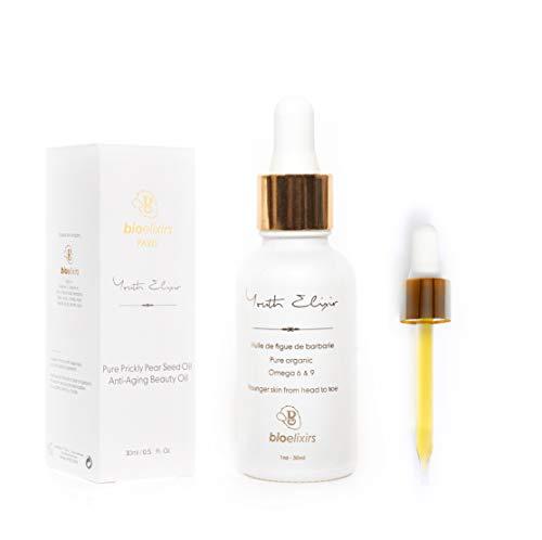 Aceite de Semillas de Higo Chumbo orgánico 100% puro y natural antienvejecimiento para el tratamiento orgánico del cabello y la cara para arrugas, líneas finas y ojeras (30 ml)