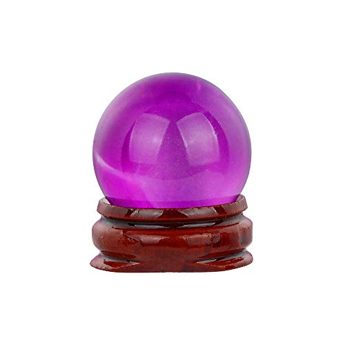Xshuai Clear Crystal Ball with Crystal stand 30mm Natural Quartz Magic Glass Crystal Ball Healing Ball Sphere Ornaments Art Craft for Christmas Home Wedding Party Feng Shui Decor Collection (Purple)