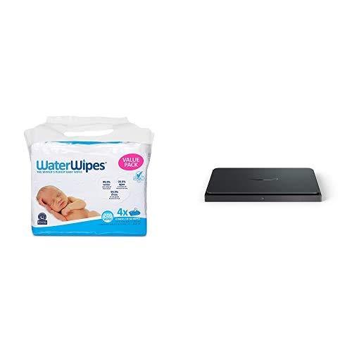 WaterWipes Unscented Baby Wipes, Sensitive and Newborn Skin, 4 Packs (240 Wipes) + Amazon Dash Smart Shelf (Medium)