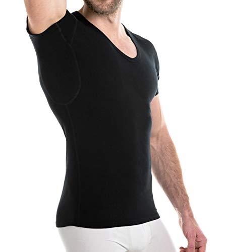FINN Business Herren Unterhemd mit Einsätzen gegen Schweiss Atmungsaktives Unterziehshirt Männer Schwarz L