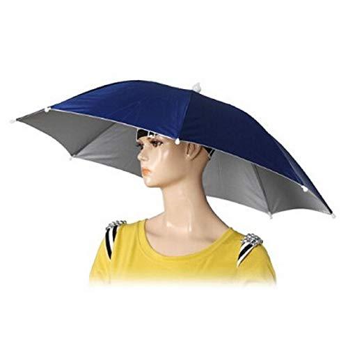 Tiswell Ombrello parasole con fascia elastica per la testa, diametro aperto 66 cm, da spiaggia, golf, pesca, Dark Blue